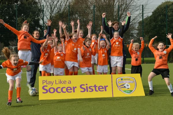 23 February 2017; Attendees at the Aviva Soccer Sisters Exhibition by the St. Patrick's Girls NS at Ringsend Astro Park with Irish Women's International Aine O'Gorman. The Aviva Soccer Sisters Easter Camps, for girls aged between 7 and 12 years old, will take place in 120 venues across the country during the Easter break. For more details on the Aviva Soccer Sisters programme and where to find your local camp, log on to www.aviva.ie/soccersisters Photo by Cody Glenn/Sportsfile *** NO REPRODUCTION FEE ***