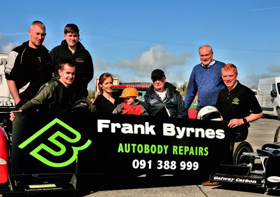 Pictured at the recent Motorsport Ireland Hill Climb and Sprint Championship pre-season scrutiny event which took place in Frank Byrnes Autobody Repairs, Oranmore L-R Jason Keogh Championship Scrutineer, Aidan Connolly, Clerk of the Course Galway Hillclimb, Joe Courtney Hillclimb Champion 2016, Deirdre McKinley, PRO with her son Rory, Pat Sheil, Scrutineer, Matt Clarke, Oranmore and Frank Byrnes, Frank Byrnes Autobody Repairs, sponsors of the 2017 Marshalls Club. Photo: CaoraDubha